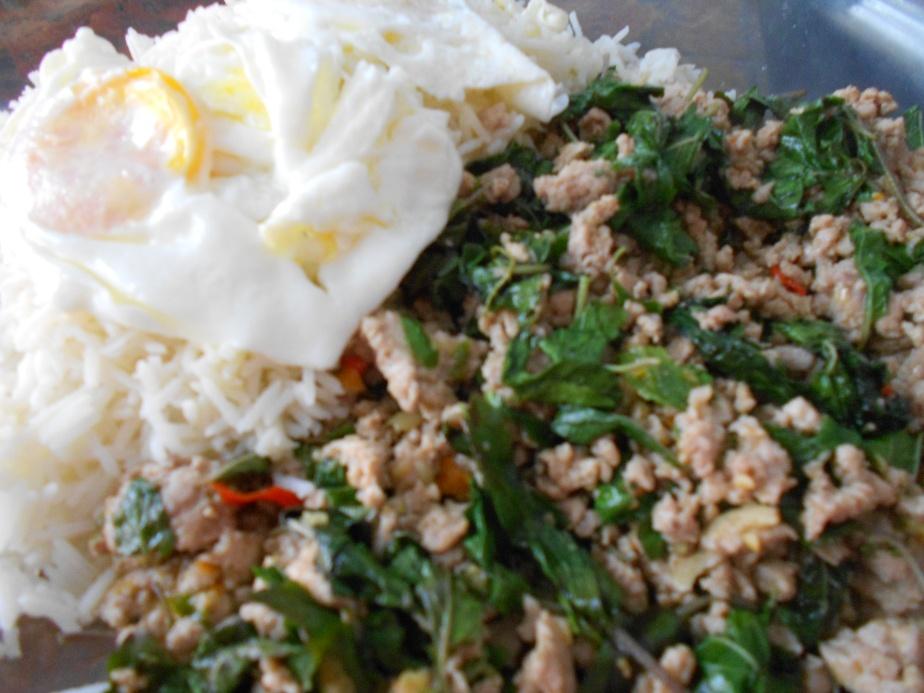 Poulet avec basic thaïlandais et oeufs sur riz