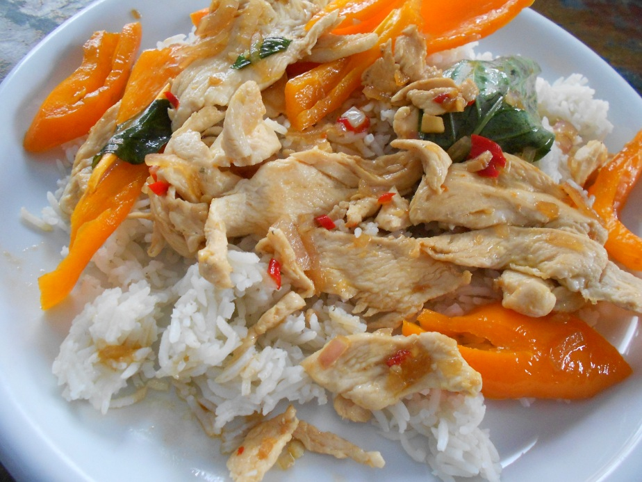 Sauté de poulet avec chiles sur riz